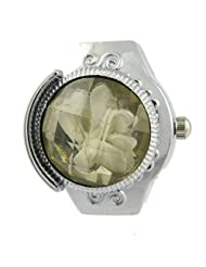 MapofBeauty Round Faceted Crystal Inlay Hunter Case Quartz Finger Ring Watch (White)
