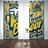 SCOCICI Grommet Satin Window Curtains Drapes [ Man Cave Decor,Delicious Fresh Premium Beer Old Fashion Graphic Design Bottle Keg Mug Foam Decorative,Multicolor] Living Room Bedroom Kitchen Cafe