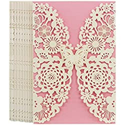 FOMTOR Laser Cut Invitations 40 Pack, Butterfly Laser Cutting Invitation Card Kit with Blank Printable Paper and Envelopes for Wedding,Birthday Parties,Baby Shower,Graduation (White+Pink)