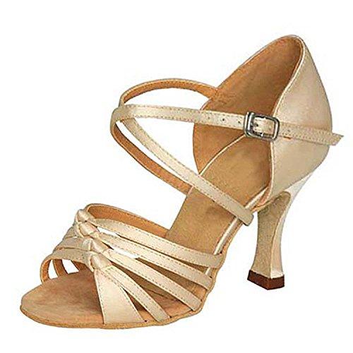 Toe Beige Peep W946 Dance Heel Shoesland Shoes Chunky Dance Latin Salsa Ballroom Women's Tango 64tq1w