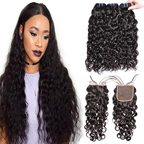 (GEM Beauty Malaysian Virgin Hair With Closure Water Wave Human Hair Bundles With Closure 14 16 18 with 12 inch Malaysian Water Wave Hair Natural Black)