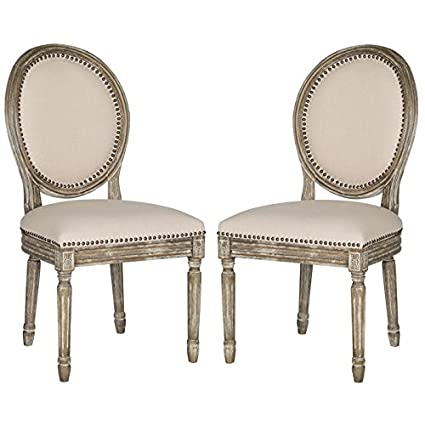 Safavieh Home Collection Holloway French Brasserie Beige Linen U0026 Rustic Oak  Oval Side Chair (Set