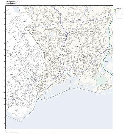 Amazon.com: ZIP Code Wall Map of Bridgeport, CT ZIP Code Map ...