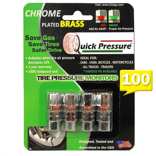 Quick Pressure QP-000100 Chrome Plated Brass 100 psi Tire Pressure Monitoring Valve Cap, (Pack of 4) (Chrome Valve Plated Caps)