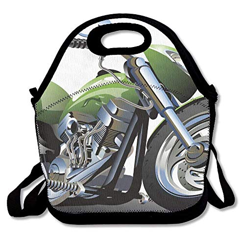 Famlal Motorcycle Design with Fancy Supreme Gears and Metal Tires Action Urban Lifestyle New Handbag Lunch Tote Lunch Bag School Reusable ()