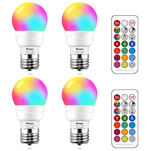 MELPO LED Color Changing Light Bulb with Remote Control, 3W E26 Dimmable RGB Light Bulbs for Birthday Party/KTV Decoration/Household/Bar/Wedding (Pack of 4)