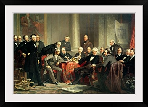 GreatBIGCanvas ''group portrait of the great American inventors of the Victorian Age, 1862'' by Christian (1824-1879) Schussele Photographic Print with Black Frame, 36'' x 24'' by greatBIGcanvas