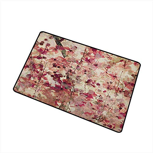 Sillgt Antique Indoor Doormat Grungy Effect Cherry Blossoms on Ribbed Bamboo Retro Background Floral Art Work Easy Clean Rugs 16
