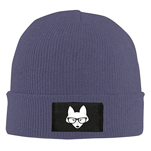 Unisex LunaCpt Arctic Fox With Glasses Lightweight Beanies Hat Navy One Size - Light Arctic Blue Apparel