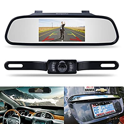 "Backup Camera and Monitor Kit,Chuanganzhuo 4.3"" Car Vehicle Rearview Mirror Monitor for DVD/VCR/Car Reverse Camera + CMOS Rear-view License Plate Car Rear Backup Parking Camera With 7 LED Night Vision from Chuanganzhuo"