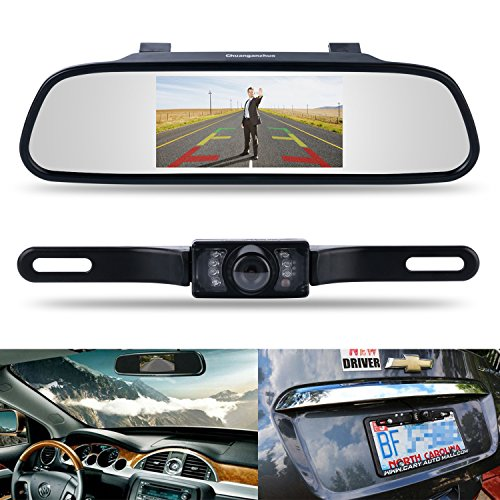 Backup Camera And Monitor Kit Chuanganzhuo 4 3  Car Vehicle Rearview Mirror Monitor For Dvd Vcr Car Reverse Camera   Cmos Rear View License Plate Car Rear Backup Parking Camera With 7 Led Night Vision