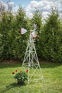 8 Ft Made in The USA Premium Aluminum Decorative Garden Windmill Green/Yellow Trim