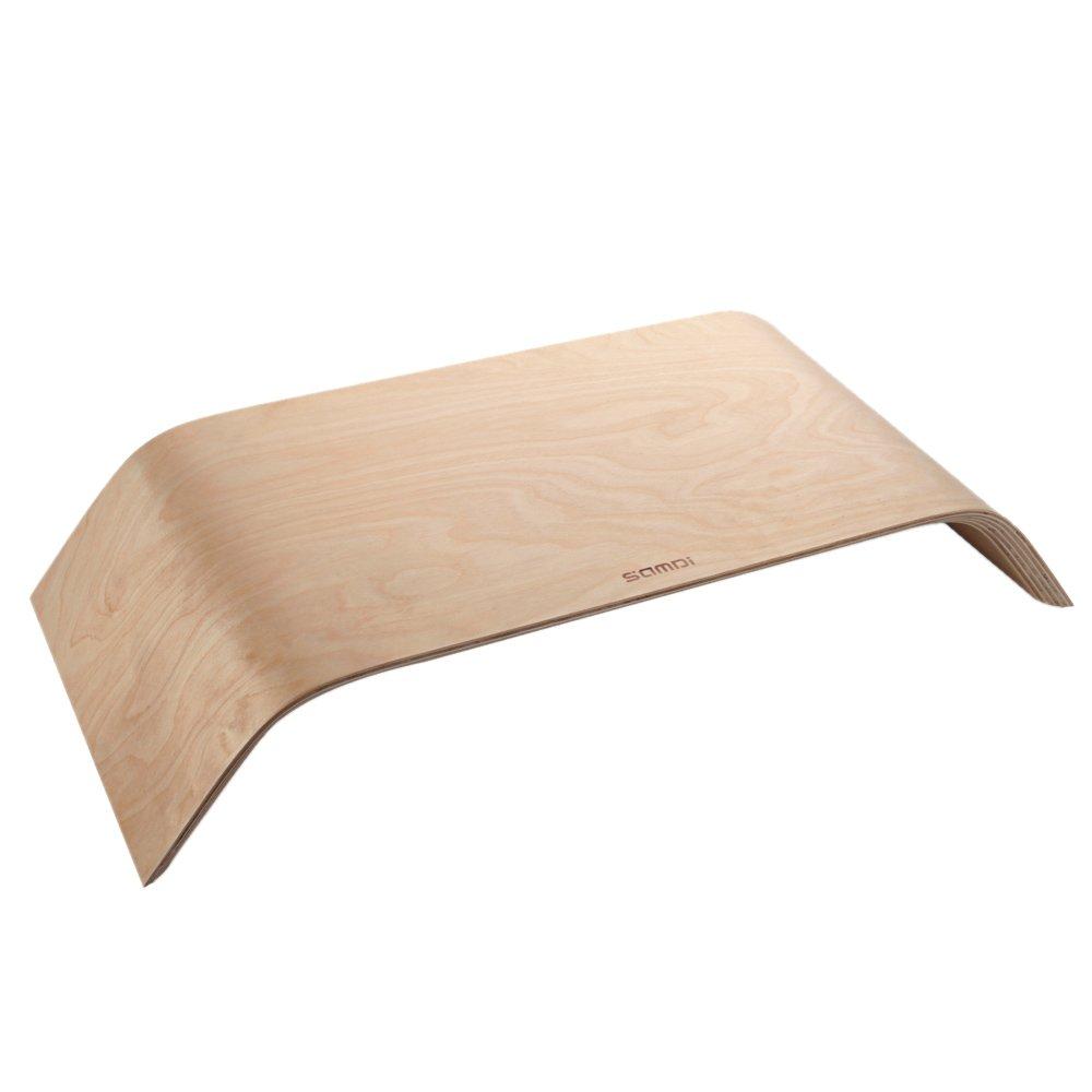 SAMDI Supporto Universale da Scrivania per Monitor PC, Piuttosto Supporto di Bambù di Supporto per iMac/ Portatili/ PC/ Notebook(White birch wood) Piuttosto Supporto di Bambù di Supporto per iMac/ Portatili/ PC/ Notebook(White birch wood)