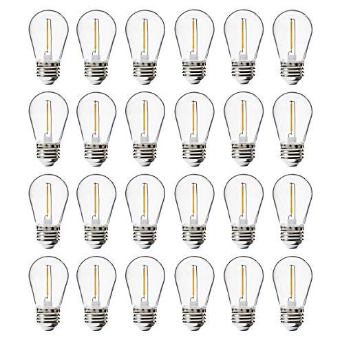 24 Pack LED S14 Replacement Light Bulbs, FLSNT Shatterproof Waterproof 1W Outdoor String Light Bulbs,E26 Regular Base,2200K Warm White,100LM,CRI80,Non-Dimmable