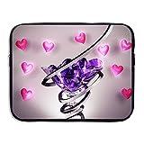 Waterproof Computer Bag Laptop Sleeve Bag Wine Glass Love Heart 13/15 Inch Zipper Notebook Case