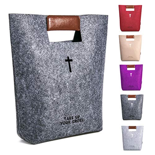 (AGAPASS Christian Bible Tote Bag for Men Women Bible Cover Case Carved Cross Holy Bible Carrying Bag Leather Tote Church Bible Study Case,Christian Gifts for Week Deals,Dark Grey)