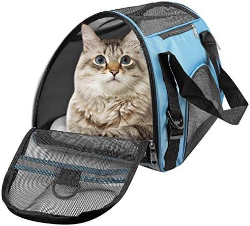 PUBAMALL Pet Carriers, Portador de Gatos, Bolsa de Mascotas Plegable portátil para Perros, Cremallera bloqueable y Bolsa de Hombro (M: 47 * 30 * 23 cm, Azul con tapete) 3