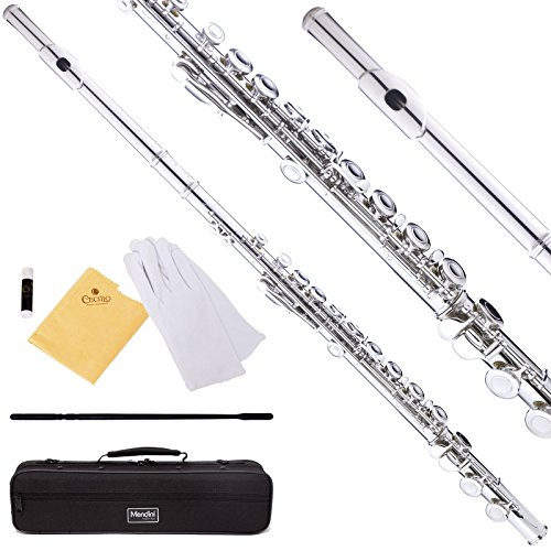 Mendini Closed Hole C Flute with Case, Joint Grease, Cleaning Rod, Cloth, Gloves, and 1-Year Warranty - Nickel Plated, MFE-N