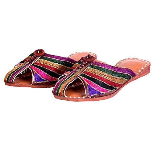 Women Colorful Resham Zari Work Jaipuri Slipper, used for sale  Delivered anywhere in USA