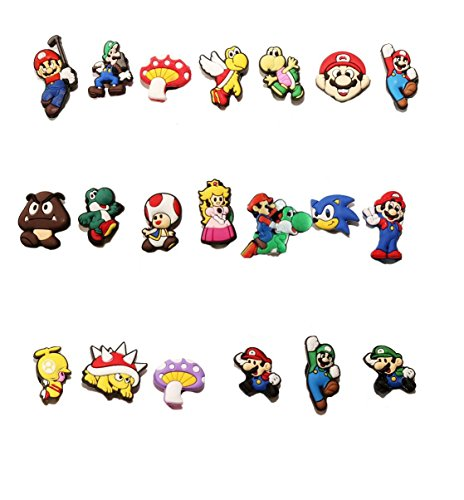 AVIRGO 20 pcs Customise Your Shoe Wristband 10 mm Hole Set # 66-1 - Super Mario Bros Toad Costume For Baby