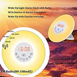 2017 NEWEST Wake Up Light Sunrise Alarm Clock, Multiple Colors + Controllable Brightness as nightlight,Touch Control Sunrise and Sunset Simulation with FM Radio & Snooze Function electronic clock