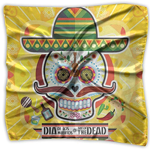 (Bandana Head and Neck Tie Neckerchief,Mexican Sugar Skull With Tacos And Chili Pepper November 2nd Colorful Art,Headband)