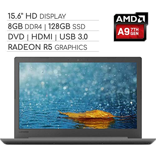 Lenovo IdeaPad 2019 Premium 15.6 HD Non-Touch Laptop Computer, 2-Core AMD A9 3.1 GHz, 8GB DDR4 RAM, 128GB SSD, DVD-RW, Wi-Fi|Bluetooth|Webcam|HDMI|VGA, Windows 10 in S Mode