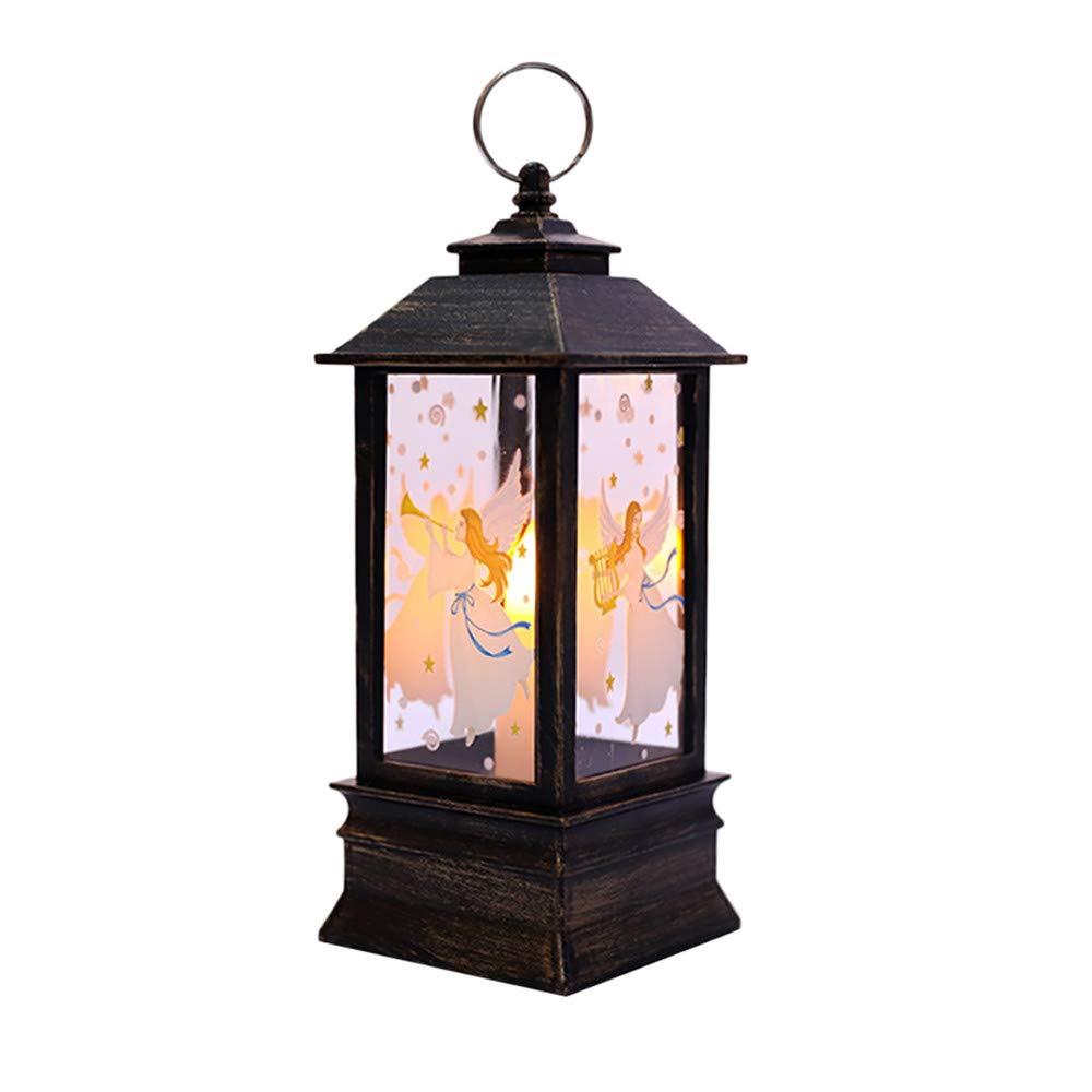 Tuu LED Candle Light Christmas Background Atmosphere Decorative Lamp Lantern(❤️Snowman Elk Angel) (E)