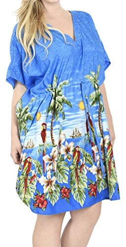 Blu LEELA LA dell'ibisco insabbiamento likre vestito costumi p128 liscio caftano spiaggia bagno tunica dell'annata da fqUwOZ