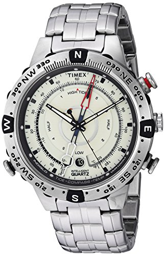 Timex Men's TW2R55500 Intelligent Quartz Tide Temp Compass Silver-Tone Stainless Steel Bracelet (Stainless Steel Compass)
