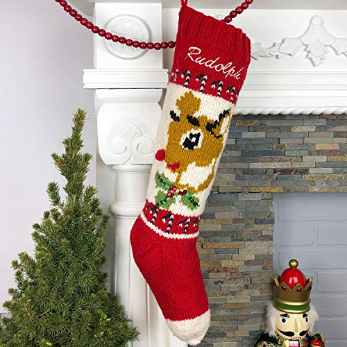 Christmas Stocking Personalized Hand Knit Vintage Rudolph Stocking -