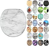 Sanilo Round Toilet Seat, Wide Choice of Slow Close Toilet Seats, Molded Wood, Strong Hinges (Marble)