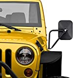 Door Off Mirror Compatible with Jeep Wrangler JK JL JT Rectangular Off-road Morror Side View Mirror, 2PACK