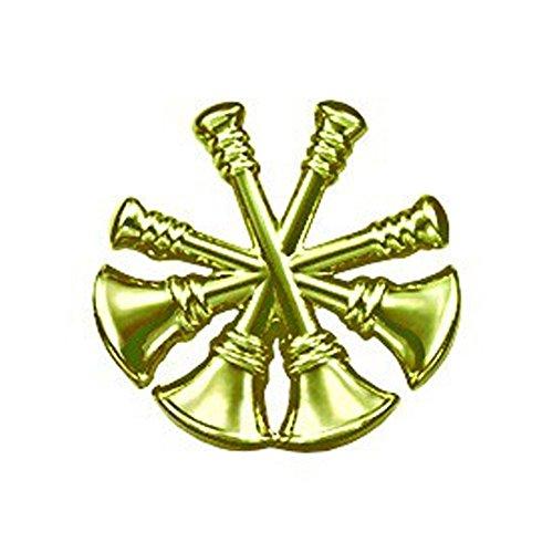 - First Class Fire Department Bugle Deputy Chief Rank Collar Lapel Pin Insignia (Pair) - Brass