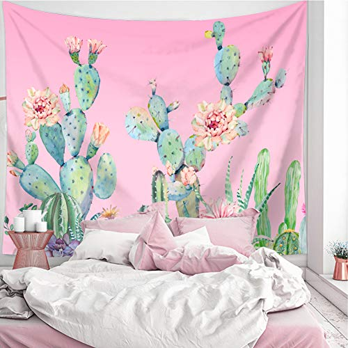 LANG XUAN Pink Cactus Tapestry Wall Hanging, Flower Wall Tapestry Plant Art Wall Blanket for Bedroom Living Room Dorm Home Decor (Pink Cactus, 130X150CM S:51X59inch)