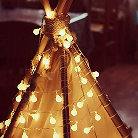 Warm White Ball Fairy Lights DishyKooker LED Lights Popular Practical Home Products Waterproof Decorative Starry Lights for Bedroom Patio Parties Battery Powered 3 Meters 30 lamp Bulb Battery