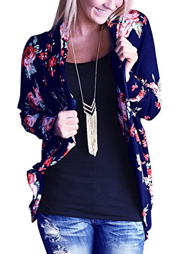 Women's Long Sleeve Cardigans Floral Printed Open Front Draped Kimono Loose Cardigan Blue S