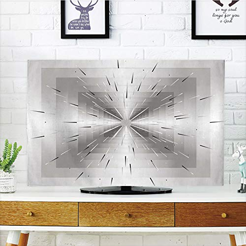 iPrint LCD TV dust Cover,Silver,Nested Squares with Ombre Lines Optical Illusion Deep Perspective Modern Design Decorative,Dimgray Black,3D Print Design Compatible 70