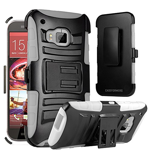 HTC One M9 Case, CASEFORMERS Duo Armor WHITE for HTC One (M9) Combo Case with Stand and Holster