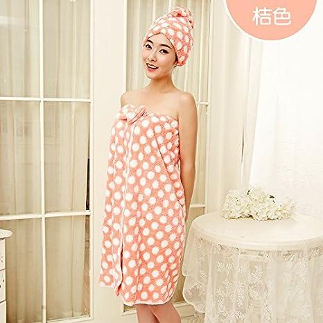 YBFQ Dot Bow Lazos Con Maxi Pueden Llevar Un Pecho Suave Y Absorbente Naranja Toalla De Baño 120*80cm: Amazon.es: Hogar