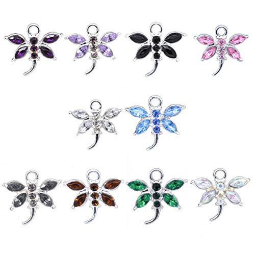 Housweety Rhinestone Dragonfly Pendants 20x19mm