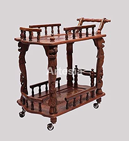 Artesia Beautiful Handcrafted Rectangle Shaped Service Trolley/bar Trolley/Kitchen Trolley