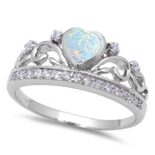 Lab Created White Opal Silver Ring sizes 7
