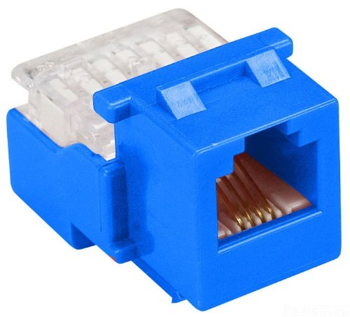 Allen Tel AT28-20 Category 3 Compact Jack Module, Blue, 1 Port, EIA/TIA 568A/B Wiring, 110 Termination, 8 Conductor (Wiring 568a/b)