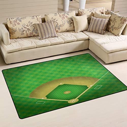 Tigers Small Baseball Rug - XiangHeFu Area Rugs for Living Dining Bedroom Doormats Decorative Baseball Field 2'7