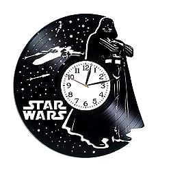 Kovides Star Wars Wall Art Xmas Gift Idea for Boy Darth Vader Gift Lp Vinyl Retro Record Wall Clock Exclusive Death Star Art Birthday Gift for Man Star Wars Clock Movie Art