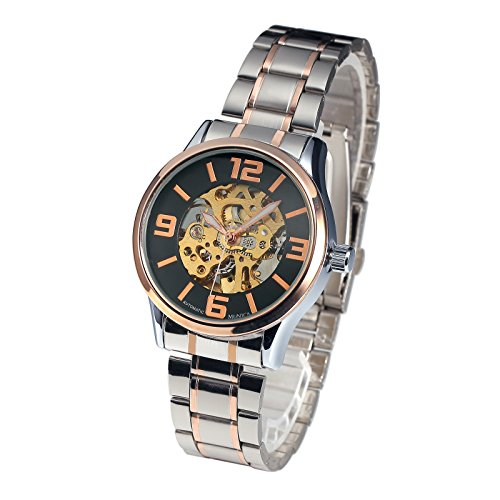 Mens Watch Mechanical Automatic Black Dial Rose Stainless Steel Case Fashion