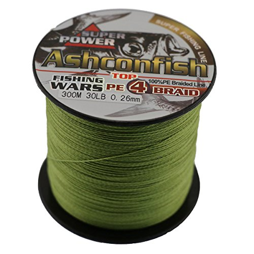 Ashconfish Super Strong Braided Fishing Line-4 Strands PE Fishing Wire 500M/546Yards Fishing String-Abrasion Resistant Zero Stretch Small Diameter for freshwater&Saltwater-Light Green