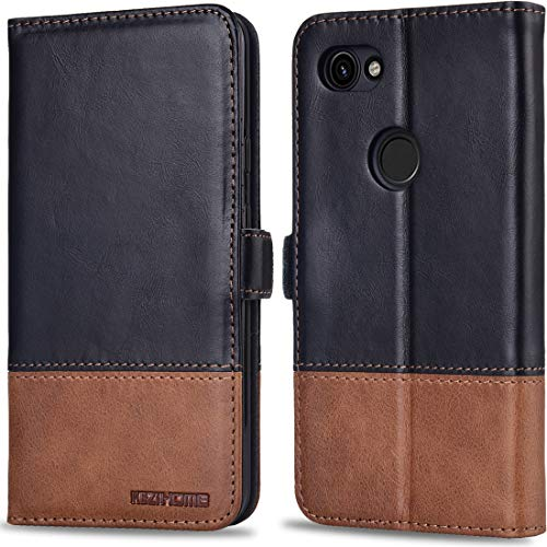 Pixel 3a XL Case, KEZiHOME Pixel 3a XL Wallet Case, [RFID Blocking] Genuine Leather Flip Folio Wallet with Card Slots, Kickstand, Magnetic Clasp Phone Cover for Google Pixel 3a XL 2019 (Black/Brown)