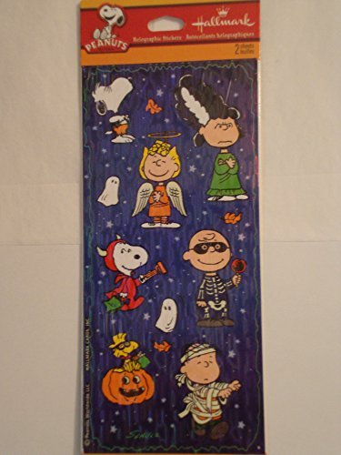 [Peanuts Holographic Halloween Stickers - 2 Sheets] (Sally Brown Costume)